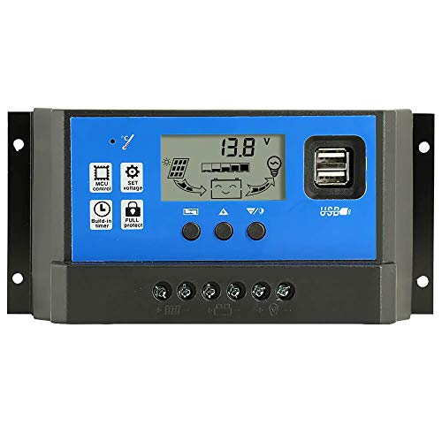 PowMr 60a Charge Controller - Solar Panel Charge Controller 12V 24V, Max 48V 1560W Input Adjustable Parameter LCD Display Current/Capacity and Timer Setting ON/Off with 5V Dual USB