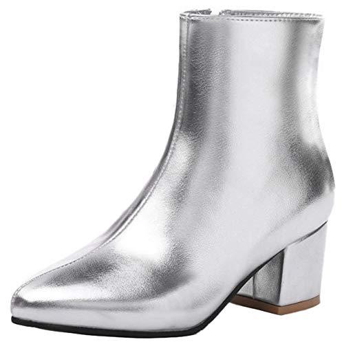 StyliShoes Damen Mode Kurzschaft Stiefel Blockabsatz (Silber, 43 EU)