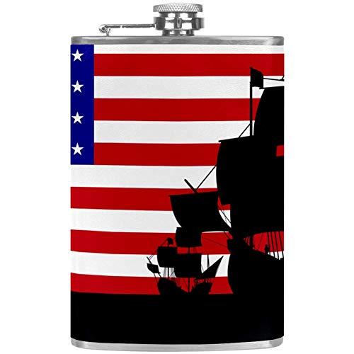 Frasco de cadera para licor de acero inoxidable a prueba de fugas con cubierta de piel de embudo 8 oz Beber de alcohol, whisky, ron y vodka para hombres frasco de acero inoxidable Columbus Ships