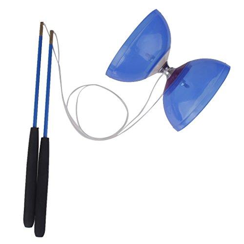 Diabolo 5 Roulement à Bille Plastique Baguette Fil Diodes Enfant Débutant - Bleu
