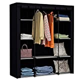 Homebi Clothes Closet Portable Wardrobe Durable Clothes Storage Organizer Non-Woven Fabric Cloth Storage Shelf with Hanging Rod and 10 Shelves for Extra Storage, 59.05' W x 17.72' D x 65.4' H (Beige)