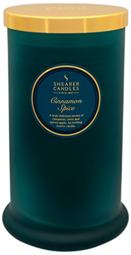 Shearer Candles Cinnamon Spice Scented Tall Pillar Jar Candle with Gold Lid-Teal