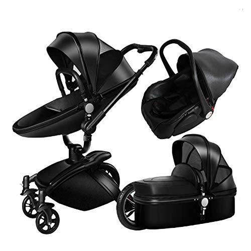 Cochecito 3 en 1 High Landscape Folding de dos vías, para bebés, para sentarse y ponerse, cochecito ligero, portador de 25 kg, ideal para aviones, negro, large