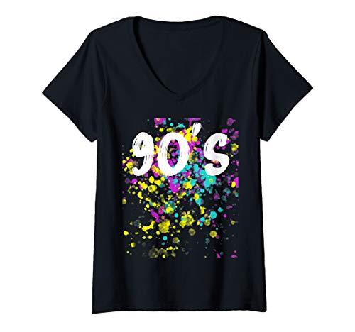 Damen 90er Jahre Outfit Damen Neunziger Kostüm Party Mode T-Shirt mit V-Ausschnitt