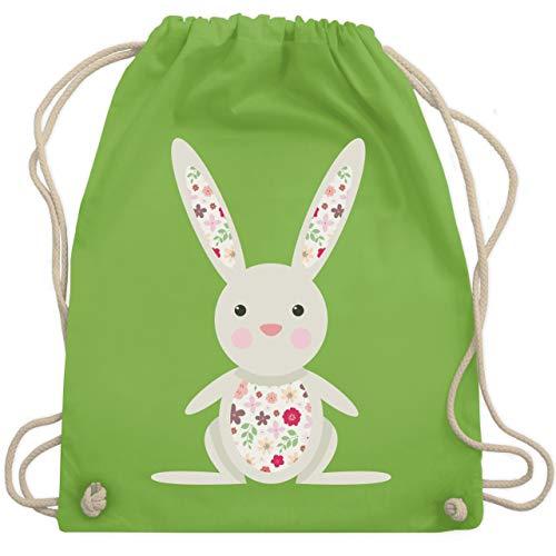 Ostern - Süßer Hase - Frühlingstiere mit Blumen - Unisize - Hellgrün - turnsack mädchen - WM110 - Turnbeutel und Stoffbeutel aus Baumwolle