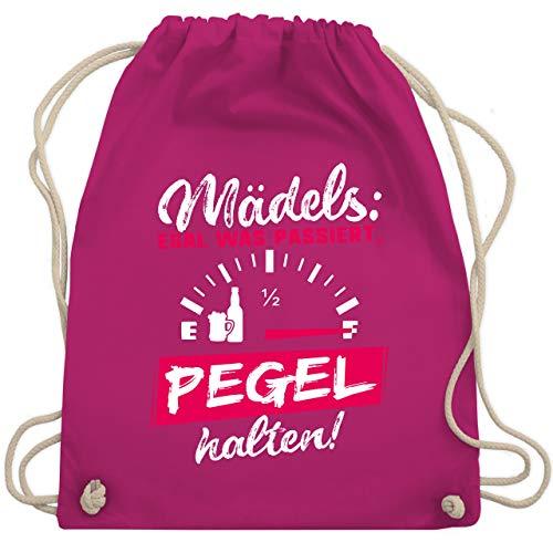 Party & Alkohol Damen - Mädels: Egal was passiert, Pegel halten! - Unisize - Fuchsia - tshirt spruch - WM110 - Turnbeutel und Stoffbeutel aus Baumwolle