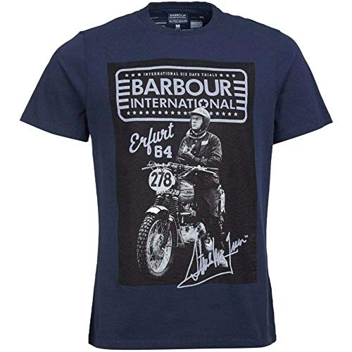 Barbour International T-Shirt Burn Slim Fit In Navy Mts0728/Ny91 Blues