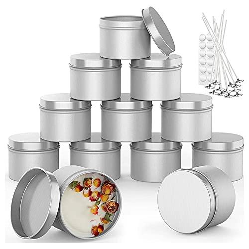Kuinayouyi 12 piezas de lata de vela con mecha pegamento punto, 6 onzas contenedores de vela para hacer velas, caja de almacenamiento de metal