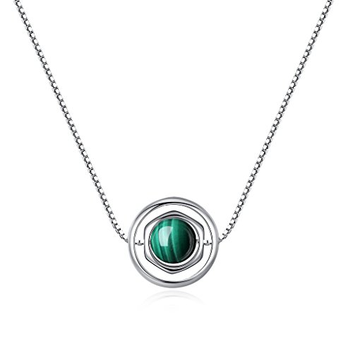coai Womens Silver Chain Malachite Stone Pendant Necklace