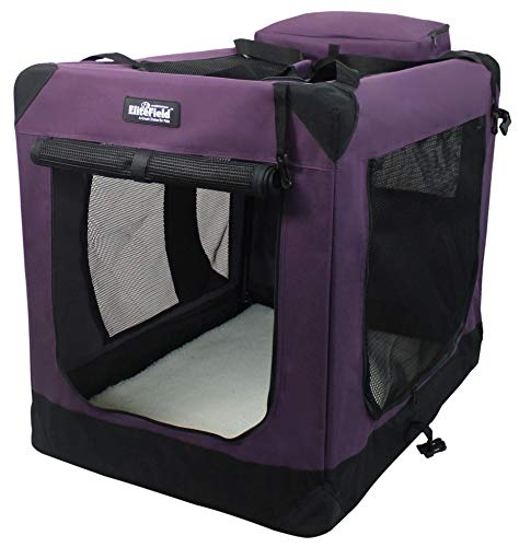 EliteField 3-Door Folding Soft Dog Crate, Indoor & Outdoor Pet Home, Multiple Sizes and Colors Available (30' L x 21' W x 24' H, Purple)