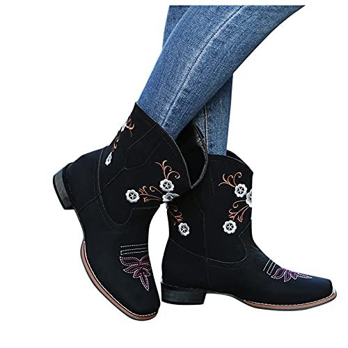 Zapatos de mujer de poliuretano para mujer, moda casual, tacón cuadrado, antideslizantes, con puntera redonda, zapatos de vaquero occidental, con tacón bajo, botines de mujer