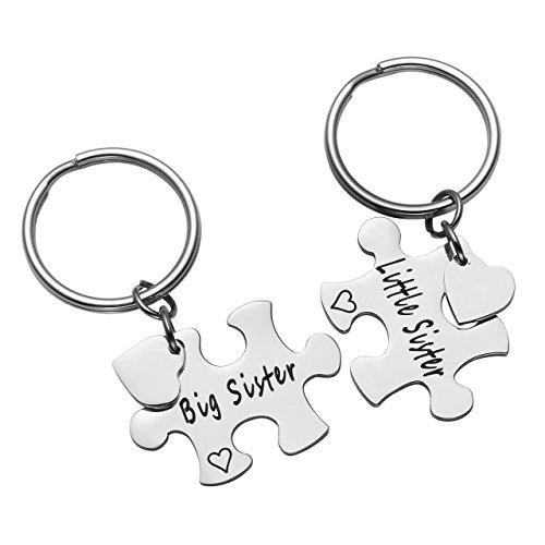 Zysta 2 Stück Schmuck Set BFF Freundschaft Schlüsselanhänger mit Gravur Puzzle Design aus Edelstahl Silber