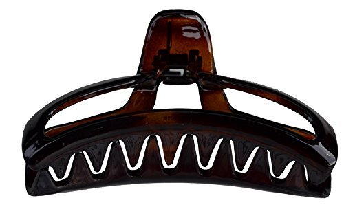 Parcelona French 4 Inch Large Tortoise Shell Flat Teeth Jaw Hair Claw Clip Clamp Clutcher