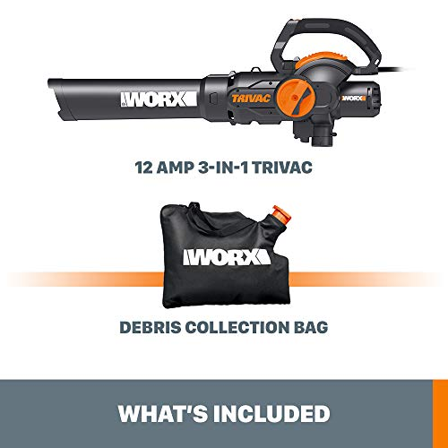 WORX WG512 Trivac 2.0 Electric 12-amp 3-in-1 Vacuum Blower/Mulcher/Vac, Black and Orange