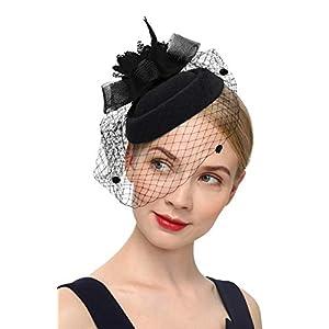 Cizoe Fascinator Hair Clip Pillbox Hat Bowler Feather Flower Veil Wedding Party Hat Tea Hat(1-a-Black1)