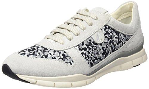 Geox Damen D Sukie A Sneaker, Elfenbein (Off White/Black), 36 EU