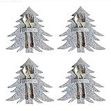 Chiyyak 4 Stück Weihnachten Tannenbaum Besteckhalter Filz Weihnachten Bestecktasche Geschirr Tasche Weihnachten Tischdekoration (ohne Besteck)