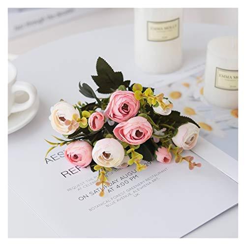 WXL Gefälschte Blume Künstliche Blumen 30 cm Rosa Kleine Tee Rosen Buds Vasen für Dekoration Zubehör Hochzeit DIY Geschenke Gefälschte Pflanzen Blume (Color : Pink)