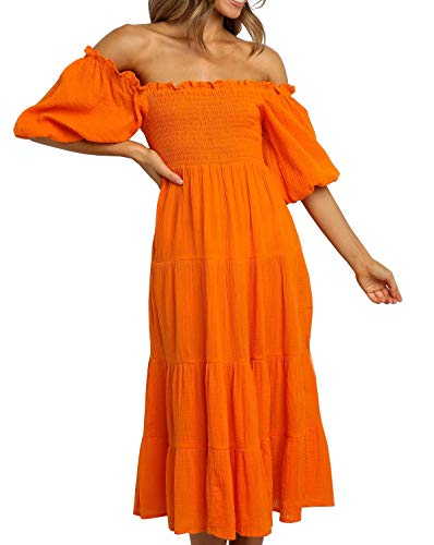 R.Vivimos Women's Summer Linen Lantern Sleeves Ruffled Off Shoulder A-Line Midi Dresses (Small, Orange)
