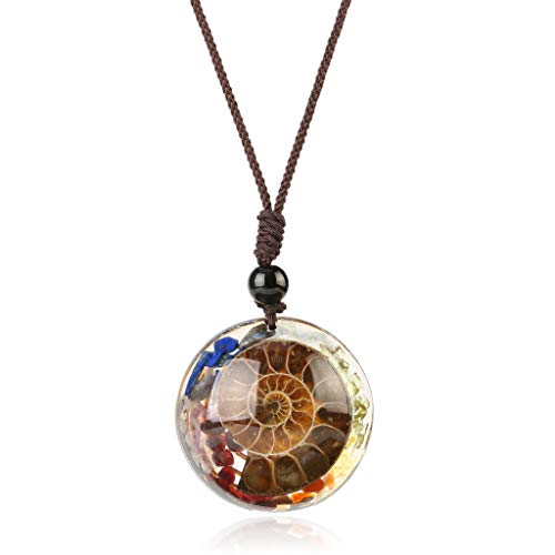 6Wcveuebuc Ammonite Fossils Pendant Necklace Circle Shape Resin Healing 7 Chakra Crystal Chip Stones Pendant Jewelry Gift Unisex
