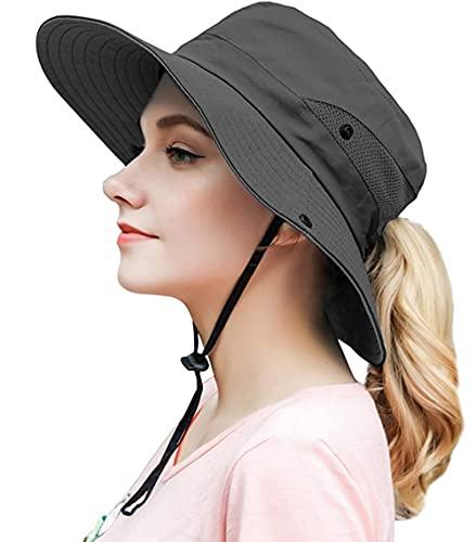 Sombrero para mujer con protección UV, plegable, para verano, senderismo, jardín, boonie gris 36