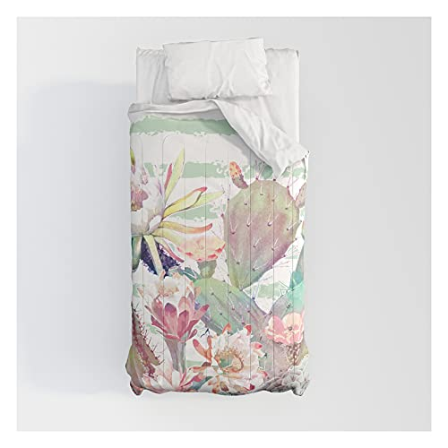 Society6 Watercolor Cactus, Floral and Stripes Design by Inovarts on Cotton Comforters