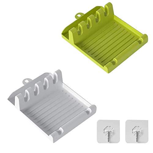 Utensil Rest, Spoon Rest cucina multifunzione con ganci adesivi bancone da cucina o piano cottura, per cucchiai o utensili da cucina a riposo - 2 pezzi