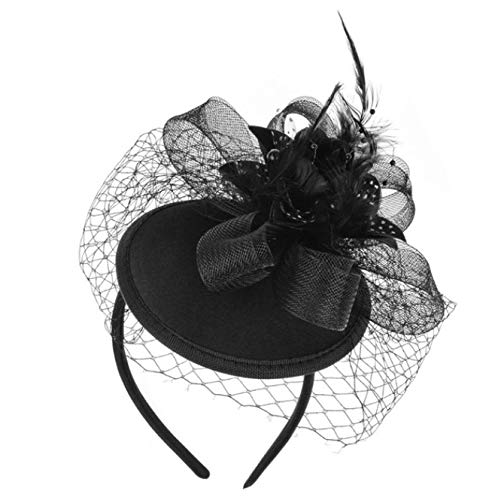 Veil Hoed Veil Veer Haarspeld Hoge Top Mesh Net Bow Bruiloft Haarband Haaraccessoires Zwart