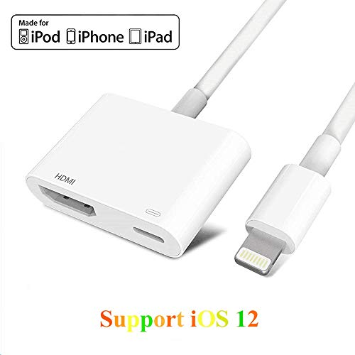 Adaptador HDMI ZQTRT 2 en 1 Plug and Play Digtal AV Adaptador compatible para iPhone X/8/8Plus/7/7Plus/iPad al proyector HDTV Monitor
