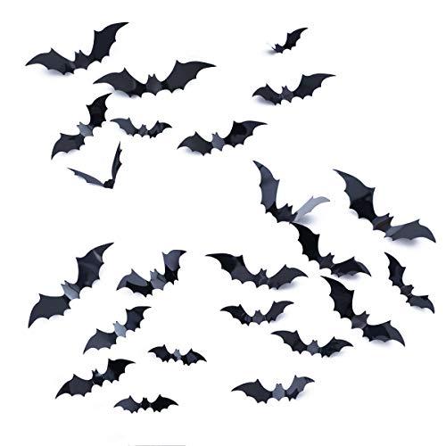 FINGOOO 36 Pieces 3D Bat Attack Wall Sticker DIY Kit Halloween Party Hanging Decorations Indoor, Black