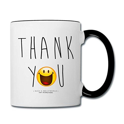 Smiley World Thank You Danke Tasse zweifarbig, Weiß/Schwarz