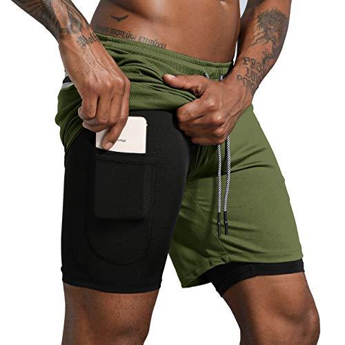 "Leidowei Men's 2 in 1 Workout Running Shorts Lightweight Training Yoga Gym 7"" Short with Zipper Pockets Army Green/Black L"