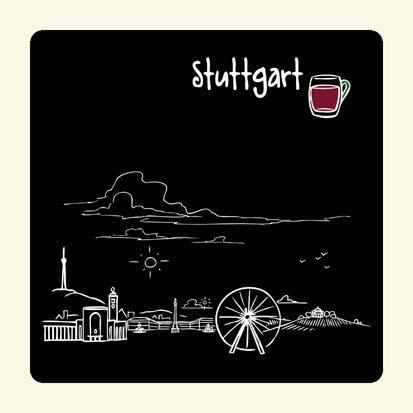 die stadtmeister Untersetzer Skyline Stuttgart (schwarz) - als Geschenk für Suttgarter & Fans der Schwabenmetropole oder als Stuttgart Souvenir