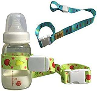 NERLMIAY Baby Sippy Cup Bottle Holder Strap Leash Tether Adjustable Baby Bottle Clip Toys Strap By (Blue+Yellow 2 Pack)