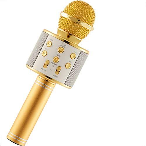 Micrófono Bluetooth, micrófono inalámbrico de karaoke, altavoz portátil de la máquina de karaoke, micrófono portátil para el hogar Ktv/fiesta al aire libre/música jugando/niños cantando, oro