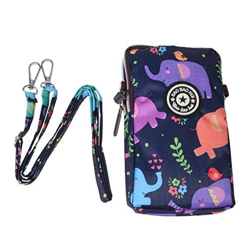 TENDYCOCO bolso de teléfono con cremallera para mujer bolso de moda soporte para teléfono con cuello bolsa para teléfono colgante para viajes de viaje de compras - elefante