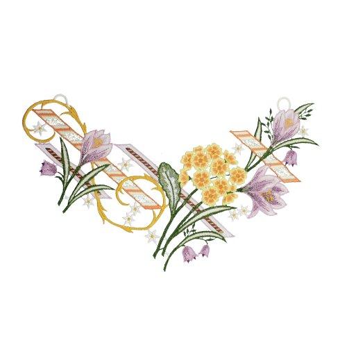 PLAUENER SPITZE Fensterbild Frühlingsblumen, ca. 22x35 cm