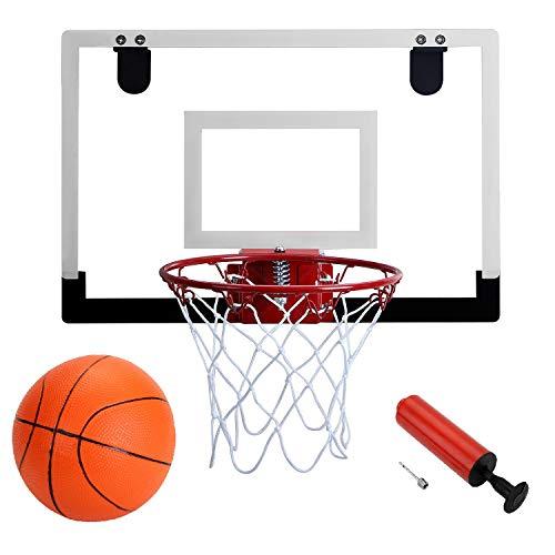 "Door Hanging Mini Basketball Hoop - Win SPORTS with Breakaway Steel Rim, Includes 5"" Mini basketballs and Hand Pump with Needle (18x12 inches)"