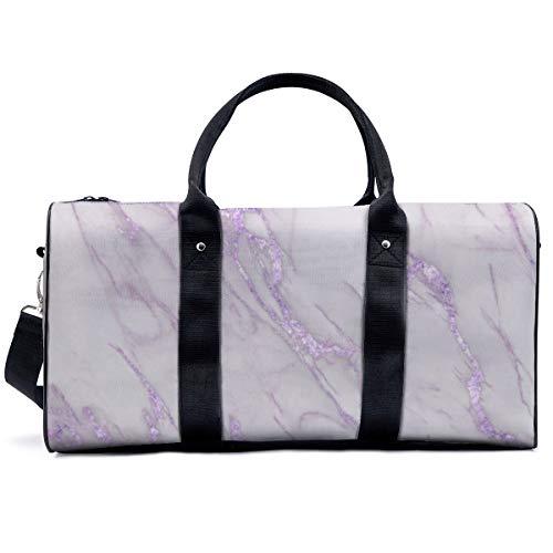 Sports Gym Bag,Marble Love Purple Metallic Handbag Yoga Bag Shoulder Tote Weekend Bag Travel Holdall Duffel Bag for Adult Men Women