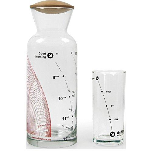drinkitnow Set Karaffe, Welle 8-18h, rot, Glas 1l, Birnbaum+ Glas|
