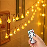 Cosumina 33 FT 80 LED Battery Operated Globe Ball String Lights Fairy String Lights Decor for Bedroom Patio Indoor & Outdoor Party Wedding Christmas Tree Garden Lawn Landscape with Remote Warm White