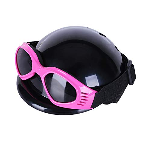 Tankyomilex Pet Dog Small Helmet and Goggles,Doggie Cap Hat Dog Sunglasses for Riding Motorcycles Bike Safety Protection of Outdoor Activities for Medium Small Dogs Head Adjustable 8.6-15.7 in