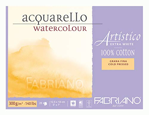 Fabriano AEW BL 4CO 25F GF Watercolour Paper - 12.5 x 18 cm Extra White