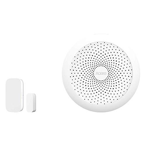Aqara Door and Window Sensor plus Hub, Zigbee Connection, Wireless Mini Contact Sensor for Alarm System and Smart Home Automation, Compatible with Apple HomeKit, Alexa