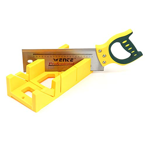 """QWORK Multifunction 12"""" Mitre Box with 14"""" Back Saw, 45° hole slot"""
