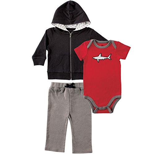Yoga Sprout Baby 3 Piece Jacket, Top and Pant Set, Black/Red, 12-18 Months (18M)