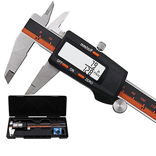 GYAM Calibrador de Vernier Digital, calibrador electrónico de Acero Inoxidable de 150 mm / 6 Pulgadas, fracciones/Pulgadas/Herramienta de medición de conversión métrica