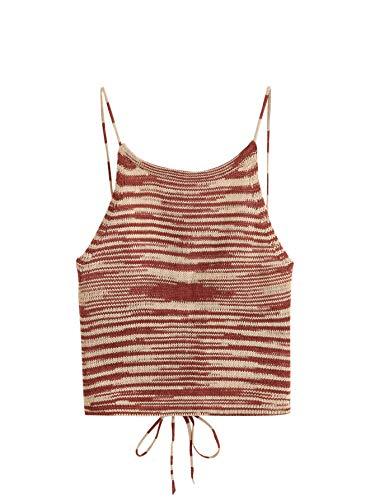 SweatyRocks Women's Sleeveless Space Dye Knit Camisole Criss Cross Backless Crop Top Multicolor S