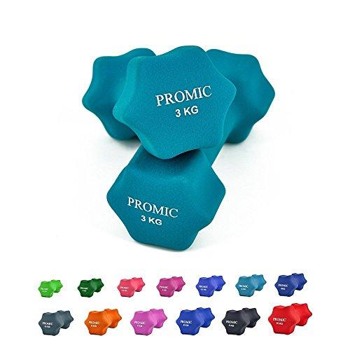 PROMIC ダンベル 2個セット ダンベルセット0.5kg 〜 10kg 13種類/色 ソフトコーティング 握りやすい 鉄アレイ 筋力トレーニング ホームジム シェイプアップ
