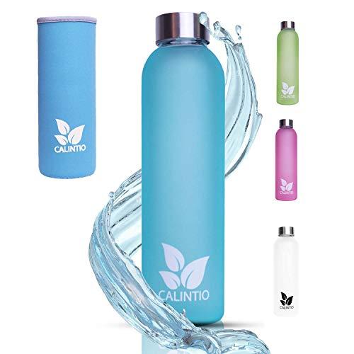 Calintio Designer Trinkflasche aus Glas - 550ml & 750ml - BPA frei, auslaufsicher und perfekt für unterwegs - hochwertige Glasflasche mit Neopren Schutzhülle … (550 ml, Blau)